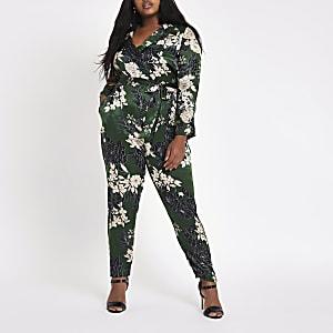 Plus green floral print tie waist jumpsuit