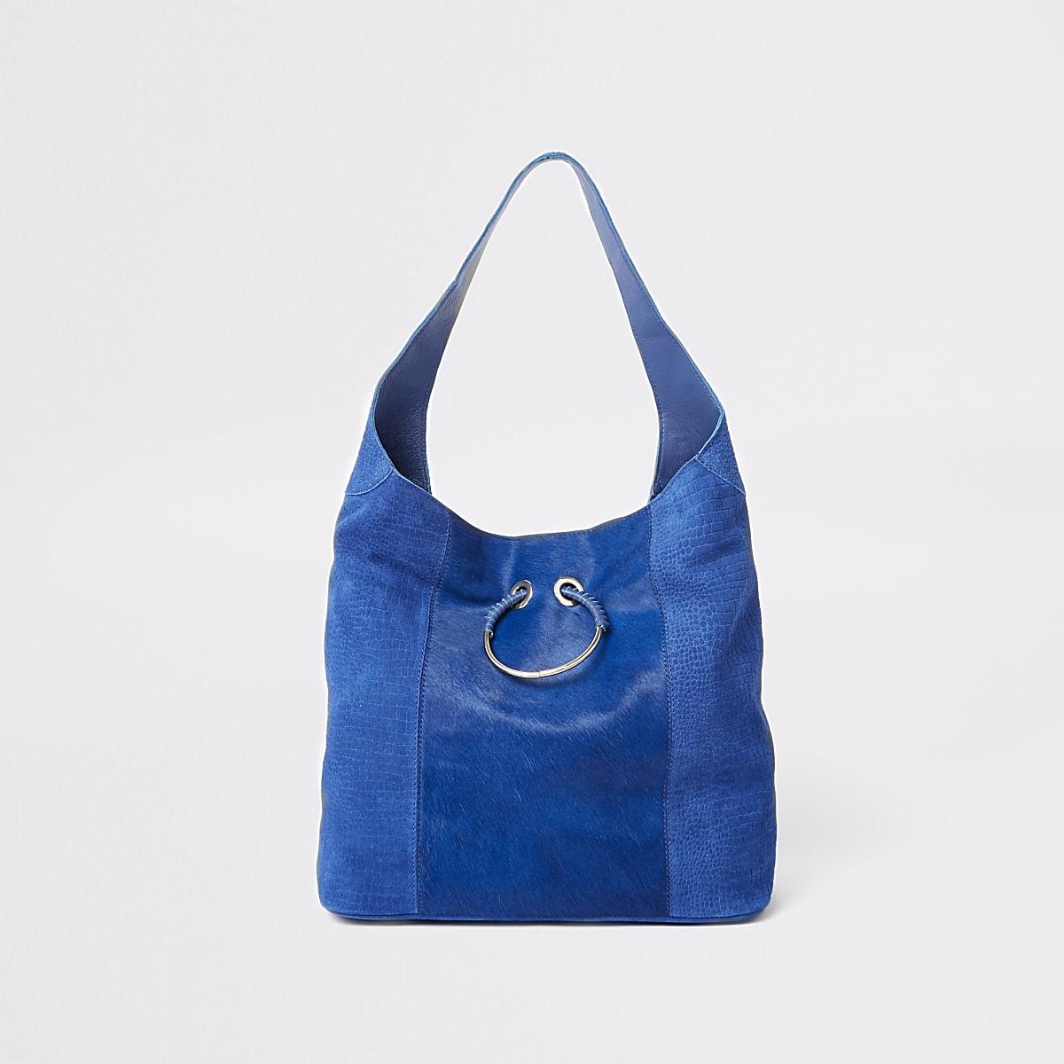 Blue leather slouch shoulder bag