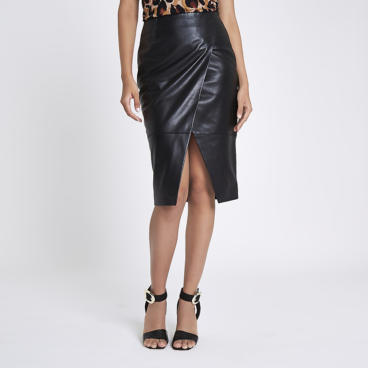 Black leather wrap pencil skirt