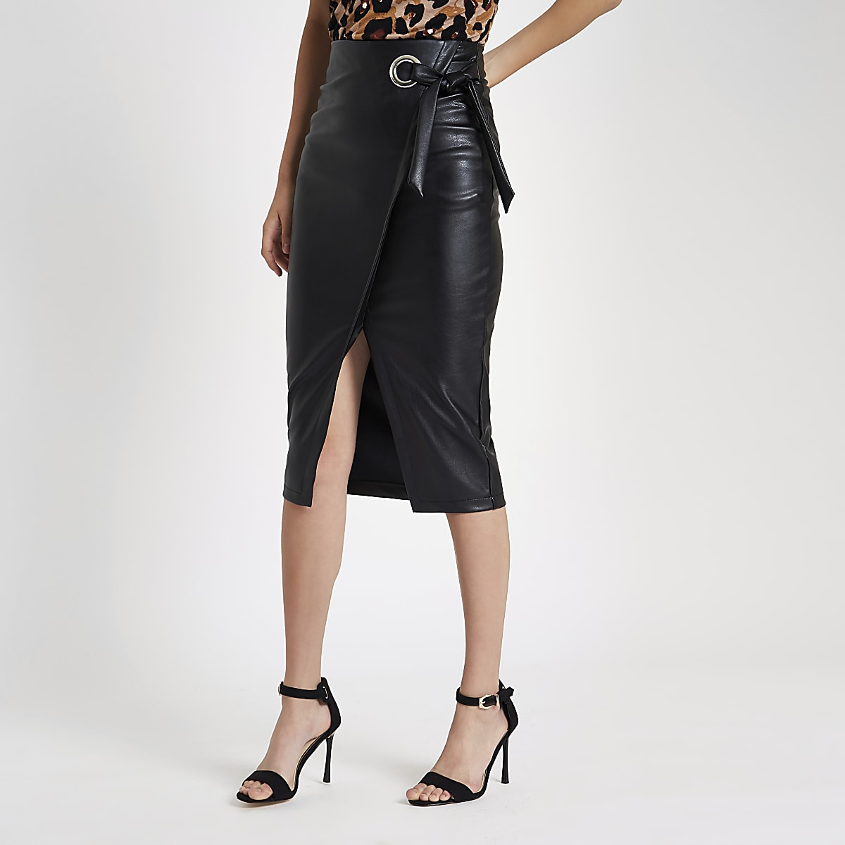 d29ce8f87 Black faux leather wrap tie-up pencil skirt - Midi Skirts - Skirts - women