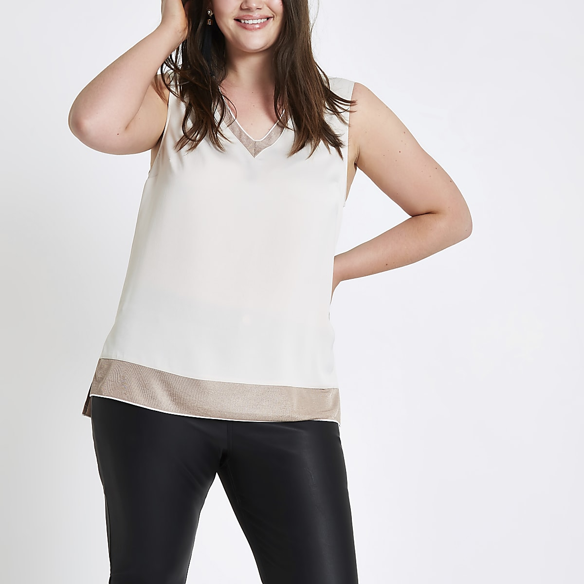 Plus cream V neck tank top