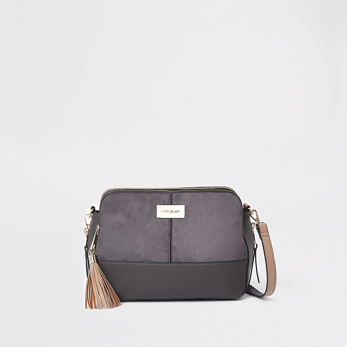 6ef6776ab8c81b Dark grey triple compartment cross body bag - Cross Body Bags - Bags &  Purses - women