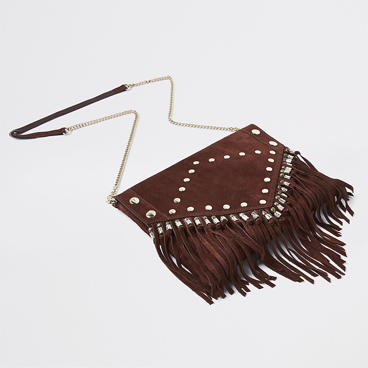 Red suede leather studded tassel clutch bag