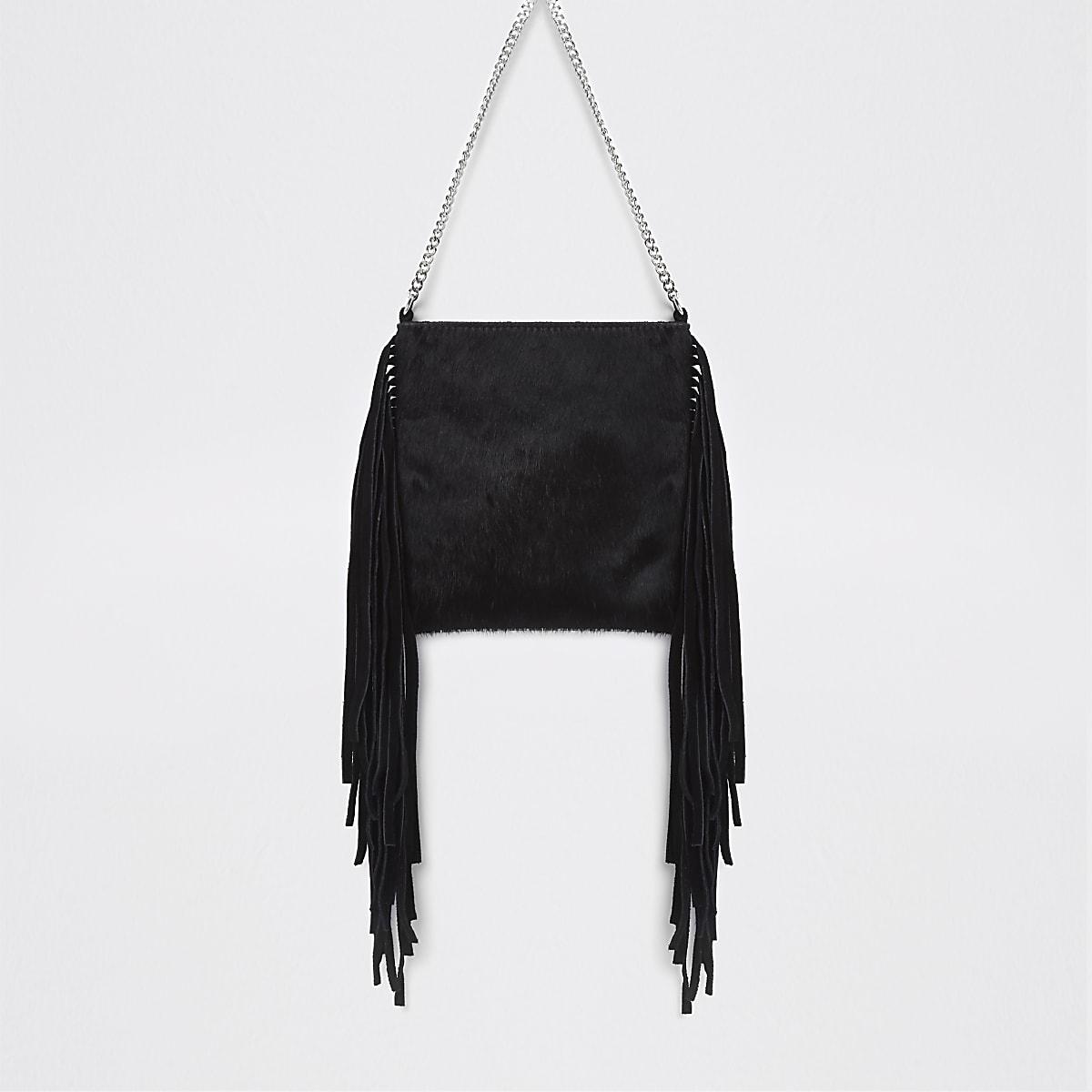 1b756a43e Black leather tassel mini cross body bag - Cross Body Bags - Bags ...