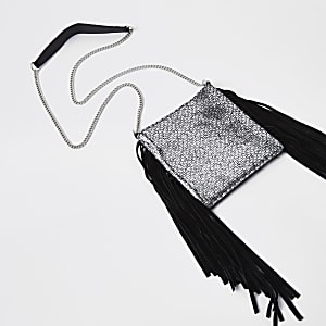 Black leather tassel mini cross body bag