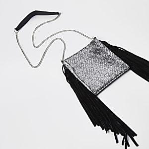 Mini sac à bandoulière en cuir noir à pampille