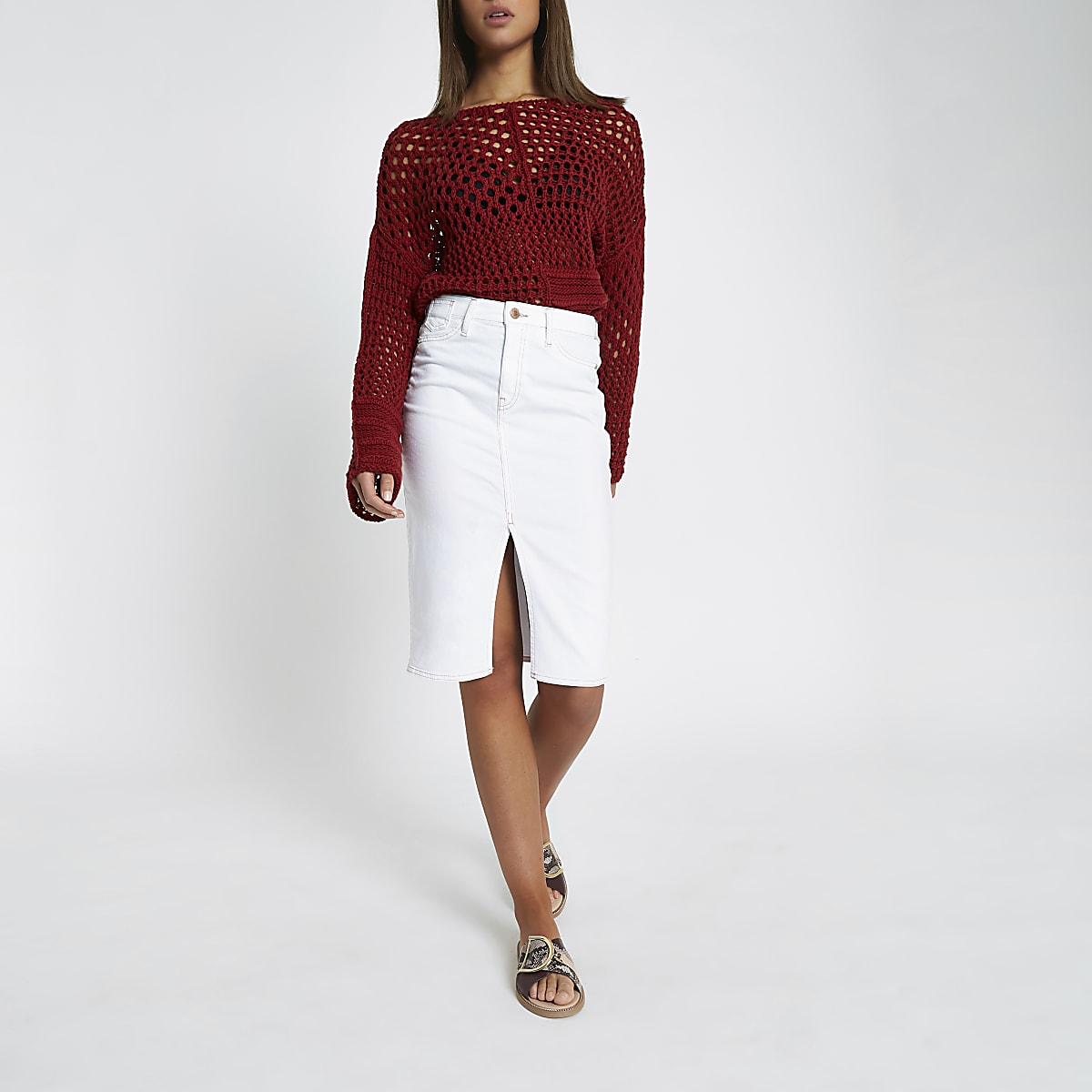 5701abffe4e2bb White contrast stitch denim pencil skirt