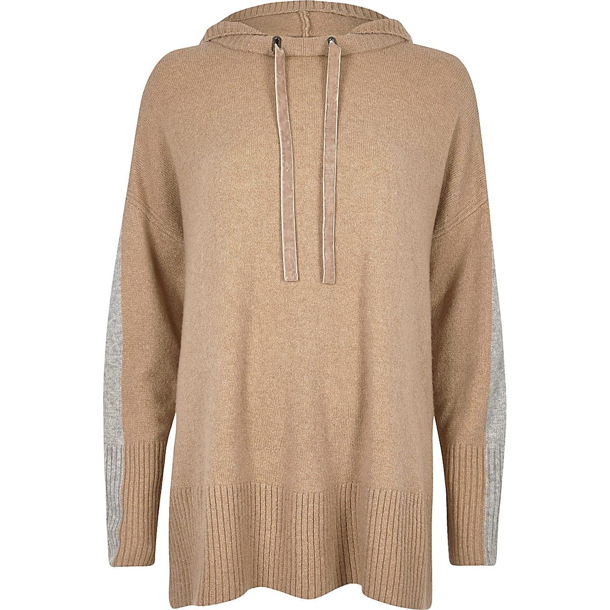 47151db5a51cbb Light brown knitted hooded jumper - Jumpers - Knitwear - women