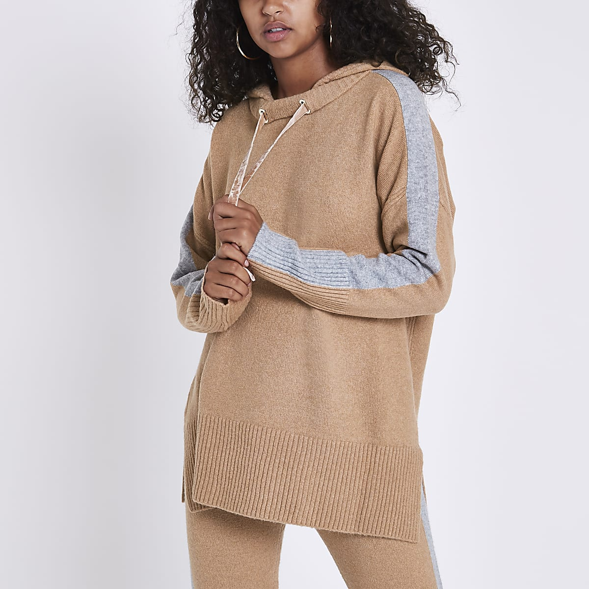 Light brown knitted hooded jumper