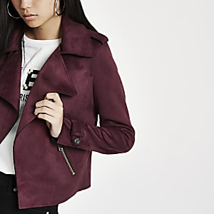 Dark red faux suede cropped trench jacket