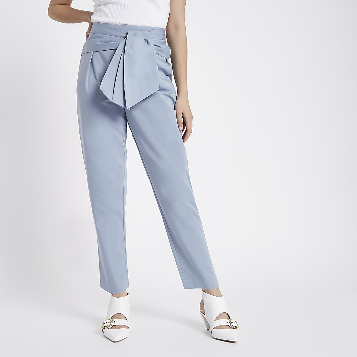Blue tie front peg trousers
