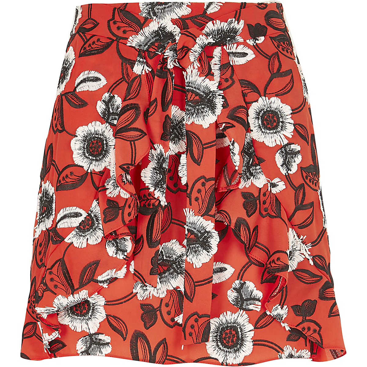 d452c557c1 Red floral frill wrap front mini skirt - Mini Skirts - Skirts - women
