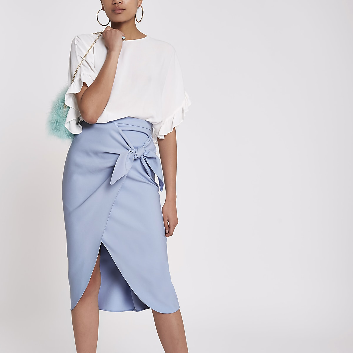 Blue twist front pencil skirt