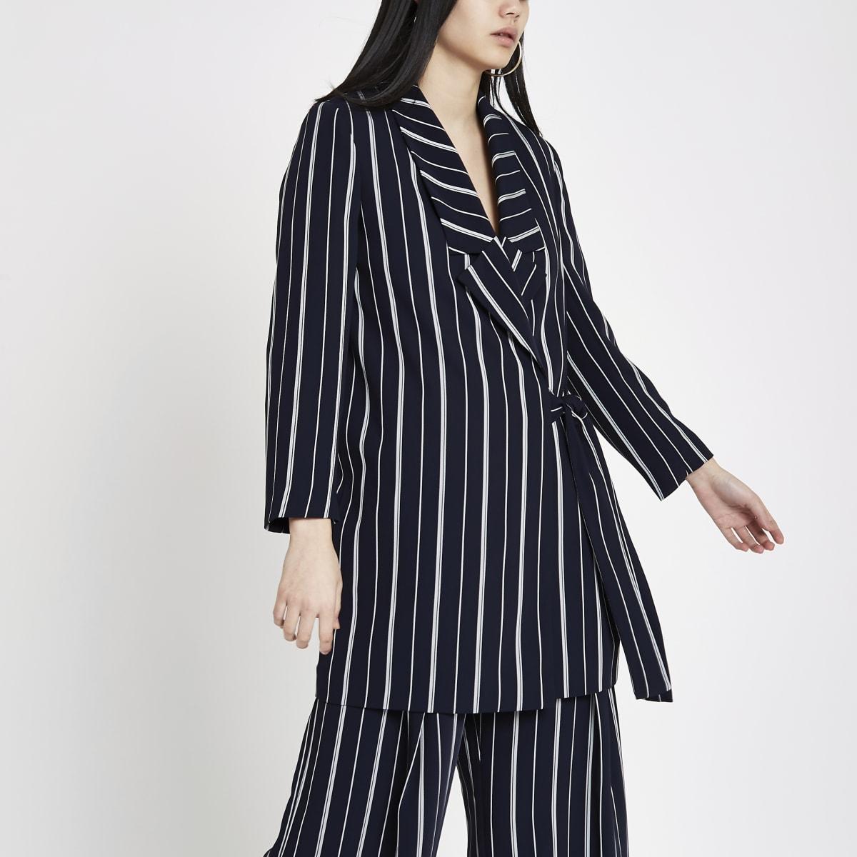 Navy stripe tie front blazer