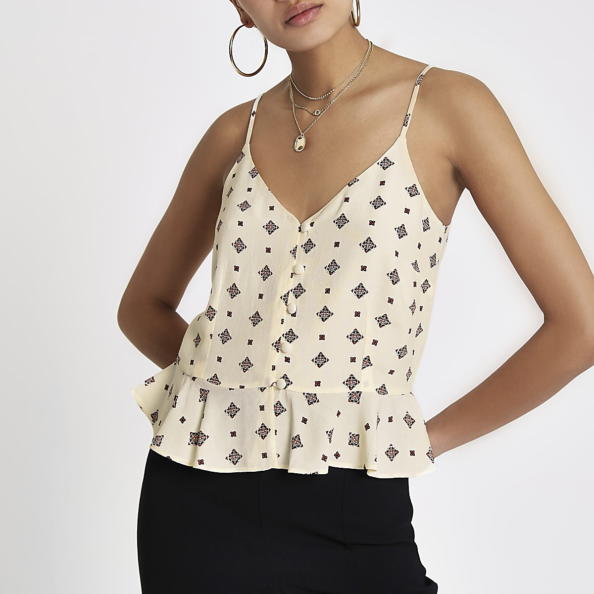 Cream tile print peplum button front cami top