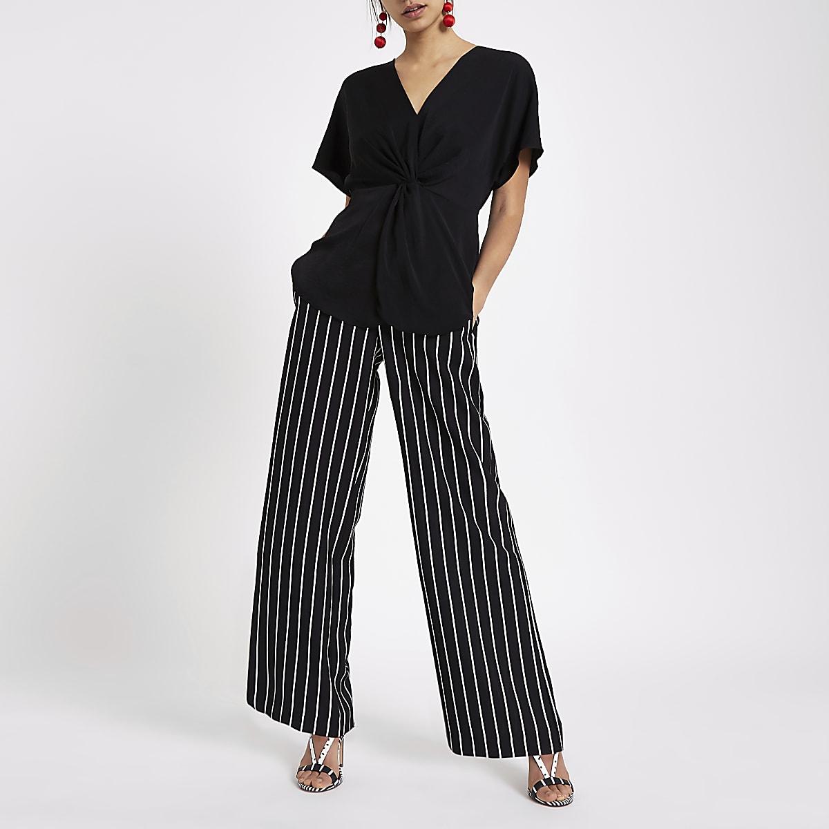 Black satin knot front shirt