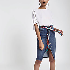 Mid blue denim belted pencil skirt