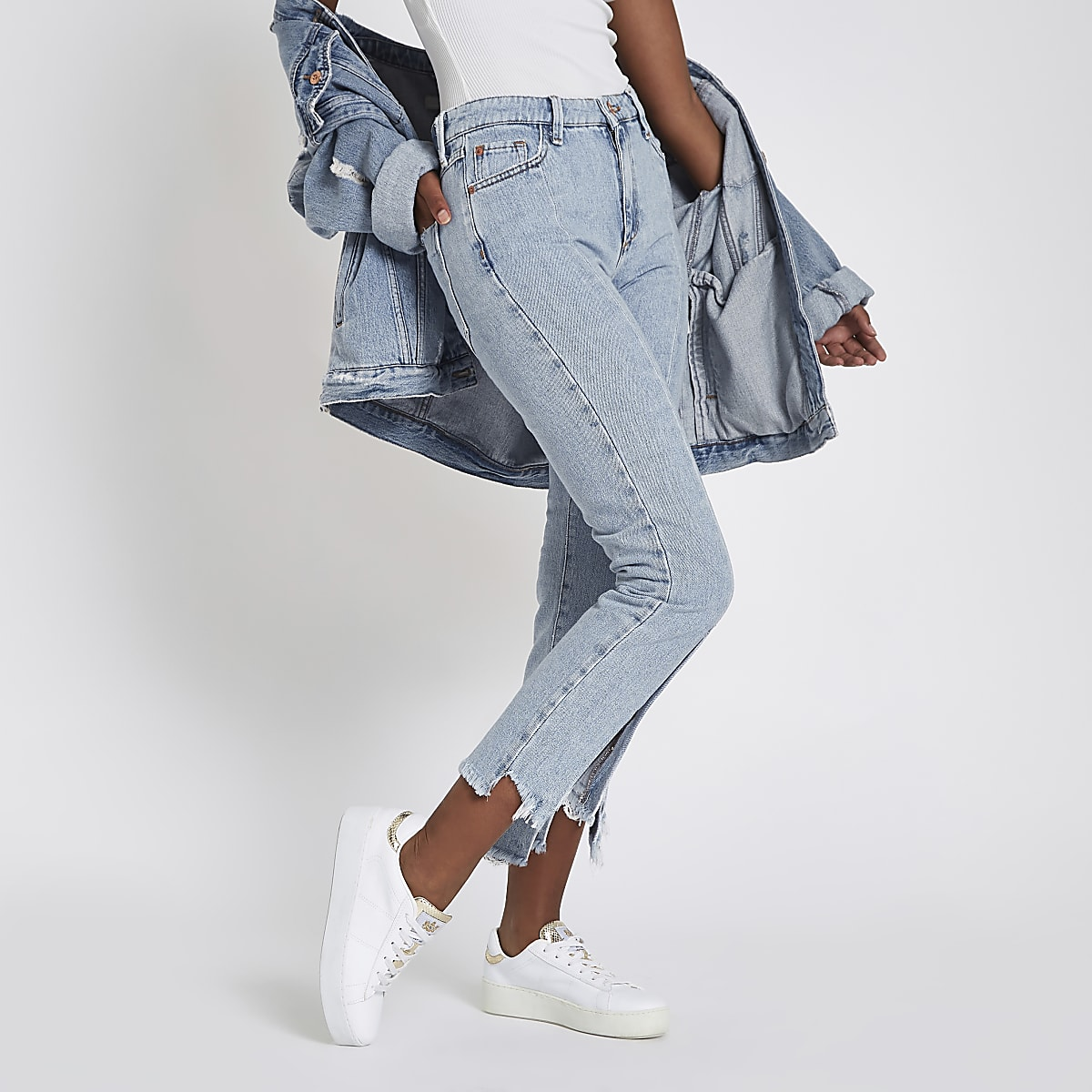Light blue split hem cropped flared jeans