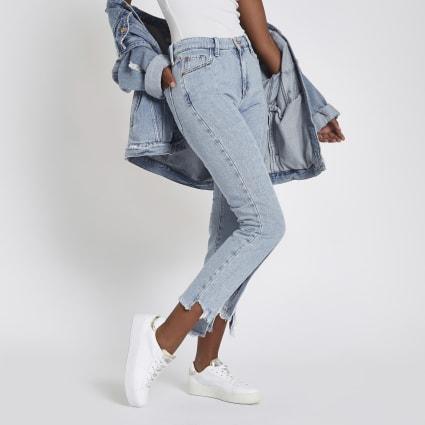 Light blue split hem cropped flared jeans