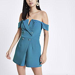 Bright blue bardot tux romper