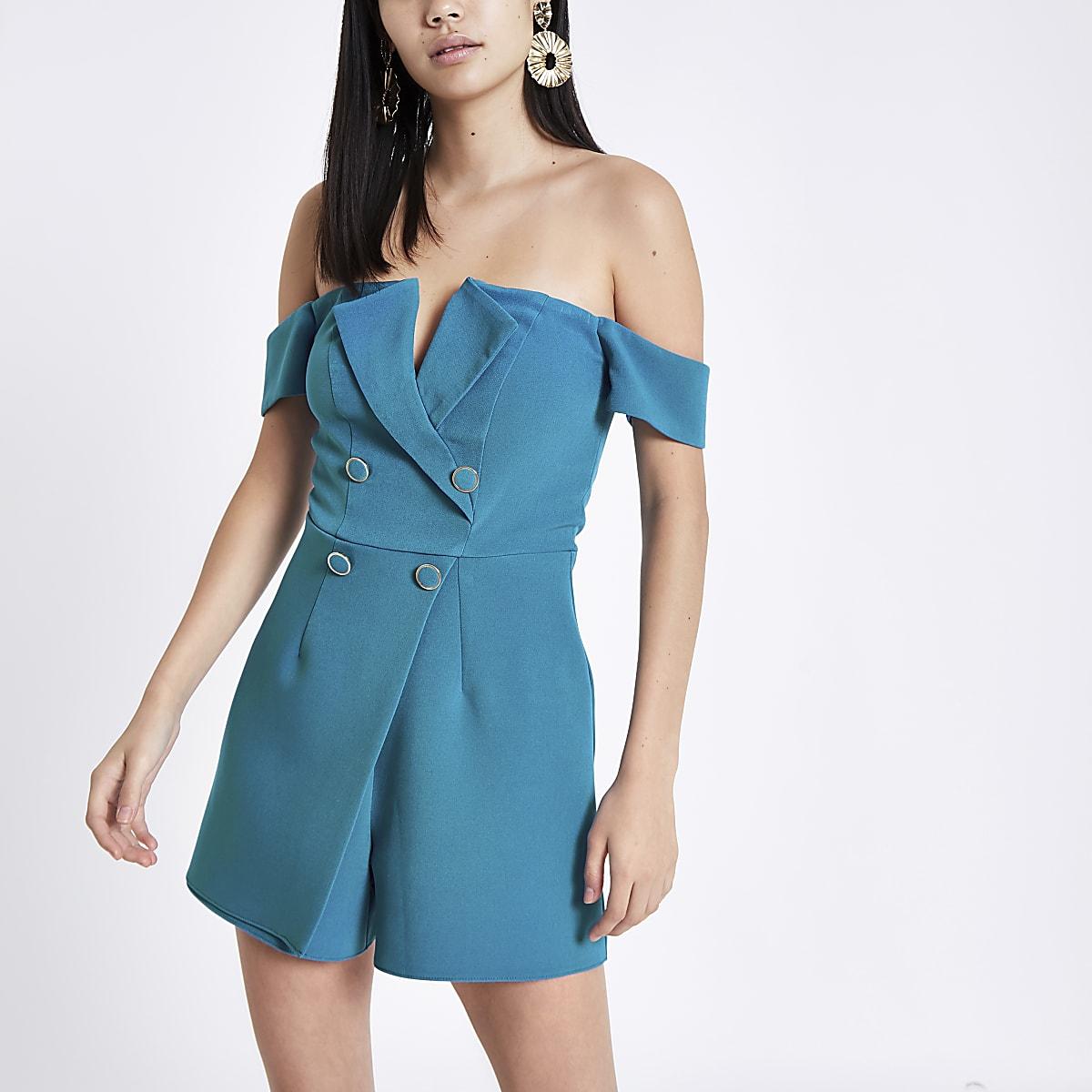 Felblauwe smokingplaysuit met bardothalslijn