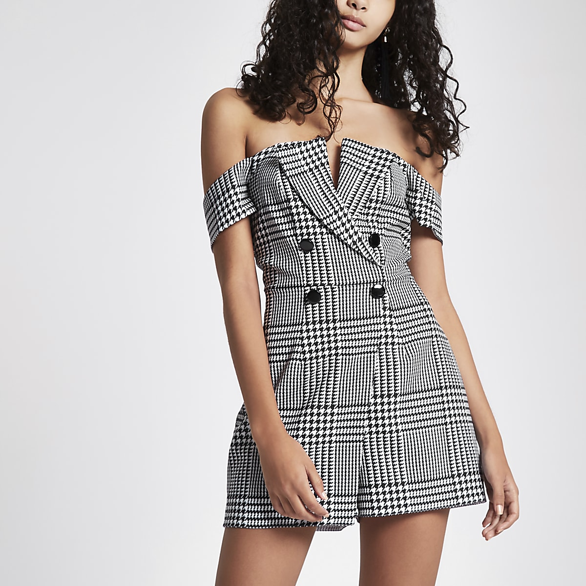 Grey check bardot tux playsuit