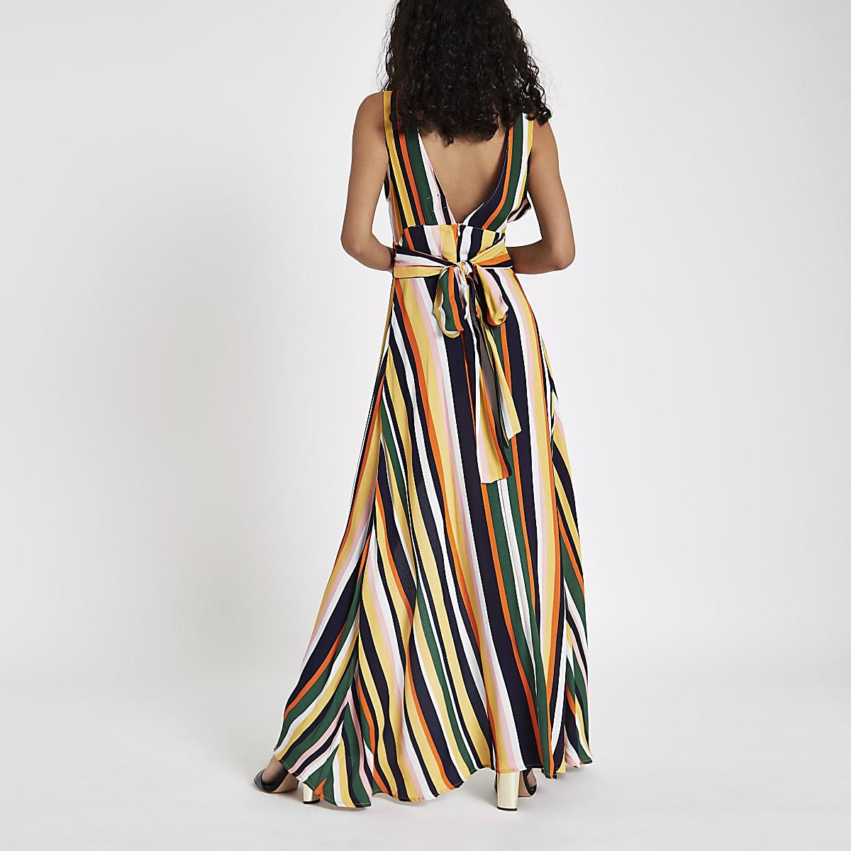 5e8582205279 Yellow stripe tie back plunge maxi dress - Swing Dresses - Dresses ...