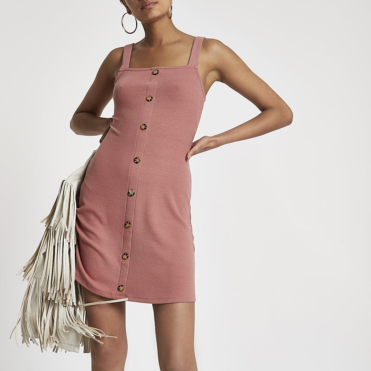 Pink button front rib mini dress
