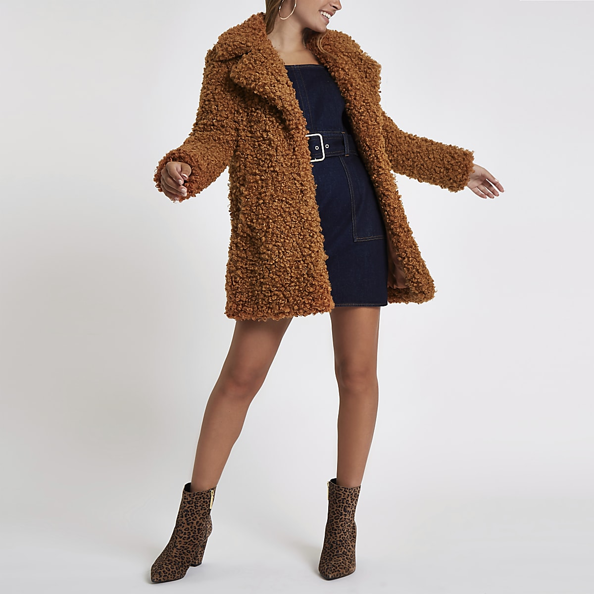 Petite brown shearling faux fur longline coat