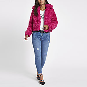 Petite Pink shearling faux fur crop coat