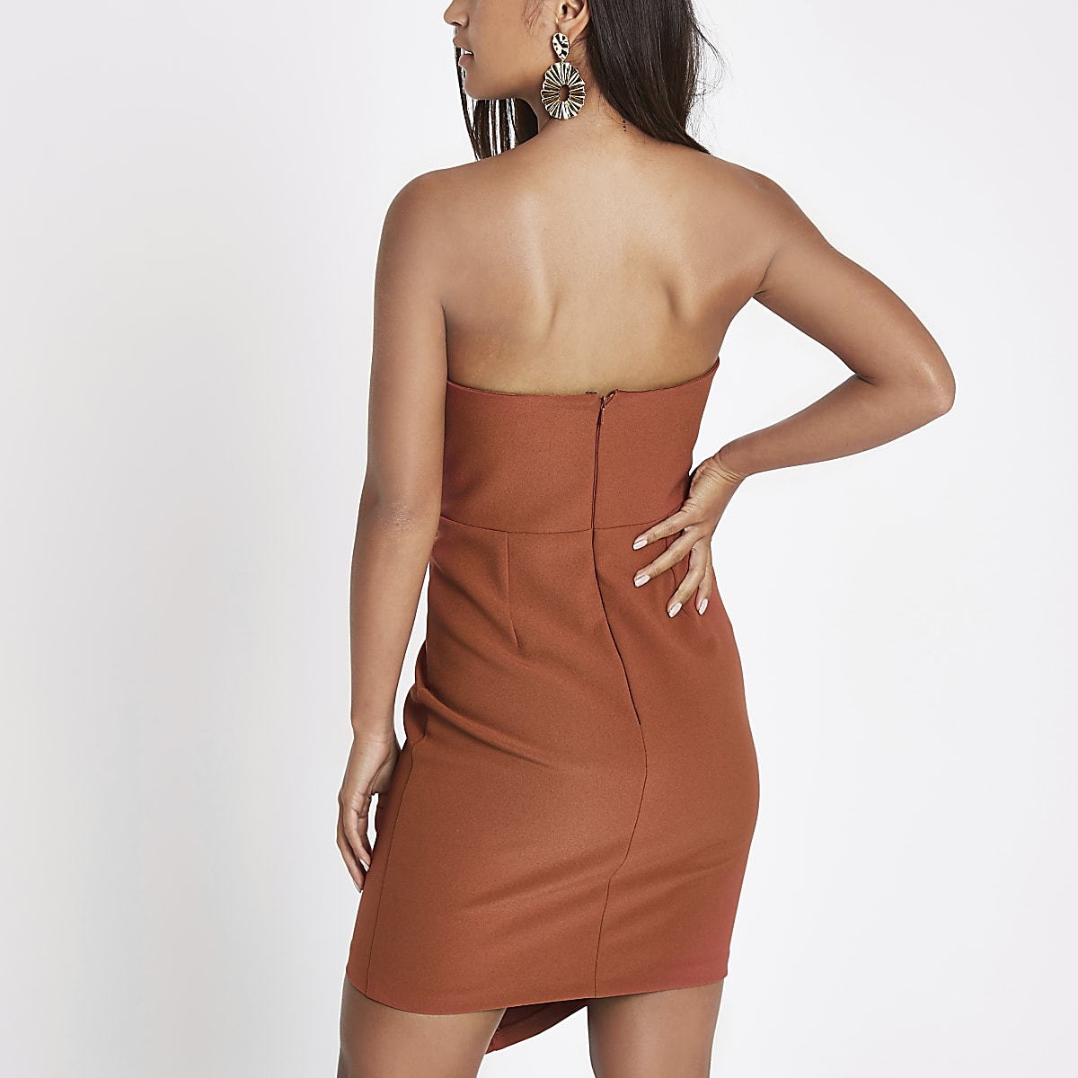 04da316457040 Petite rust button bandeau mini dress - Bodycon Dresses - Dresses ...