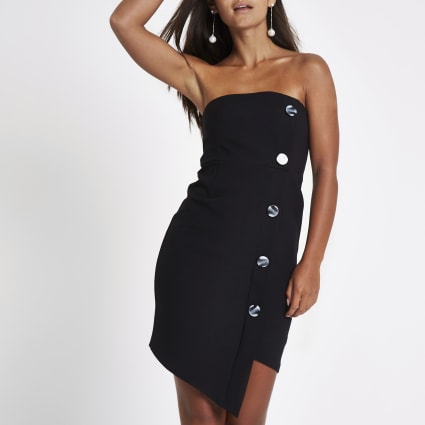 Petite black button bandeau mini dress
