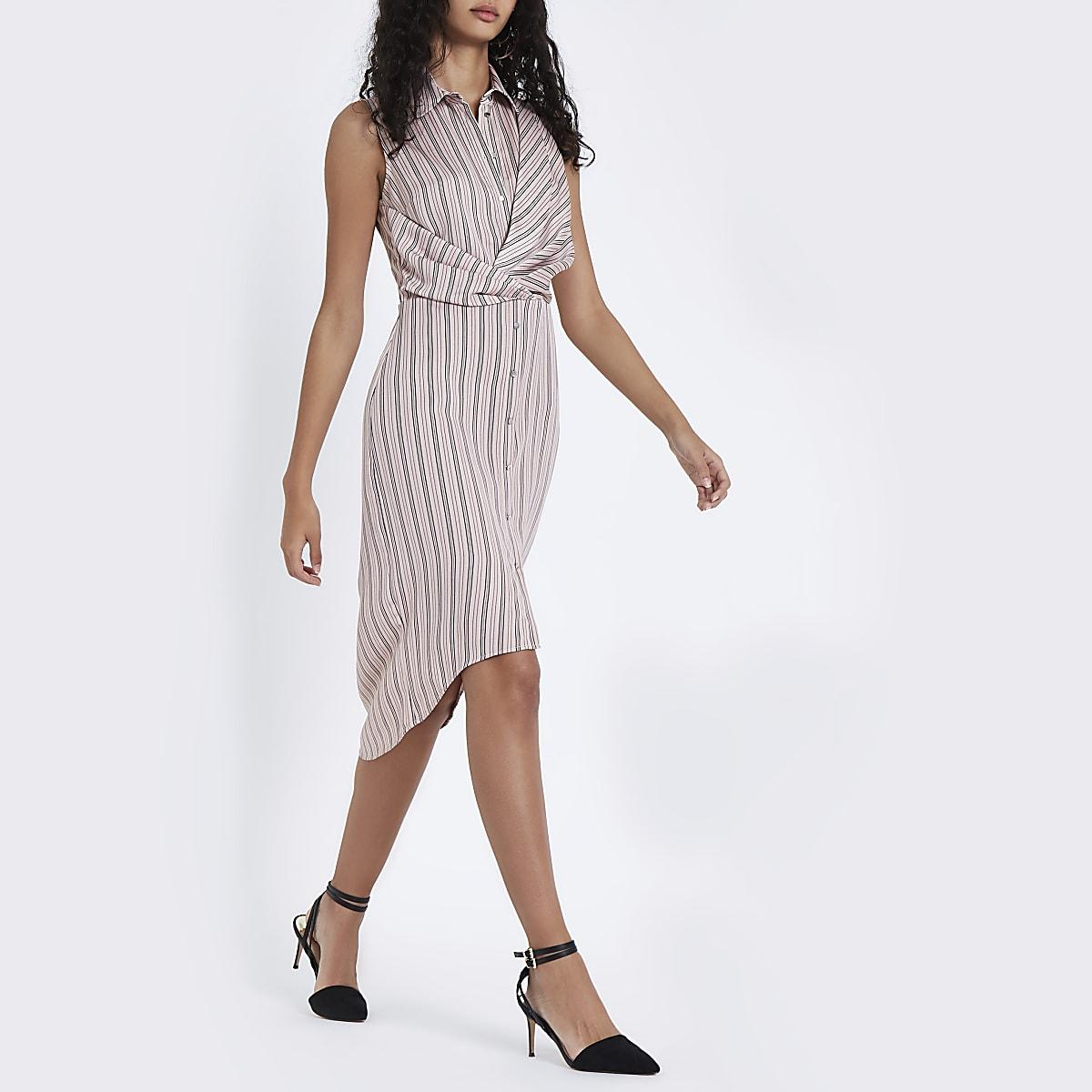 Pink stripe twist front midi shirt dress