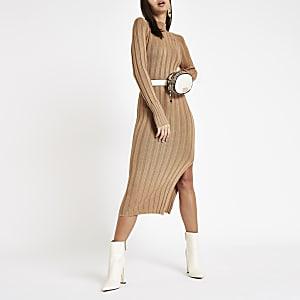 Camel ribbed knit high neck bodycon dress