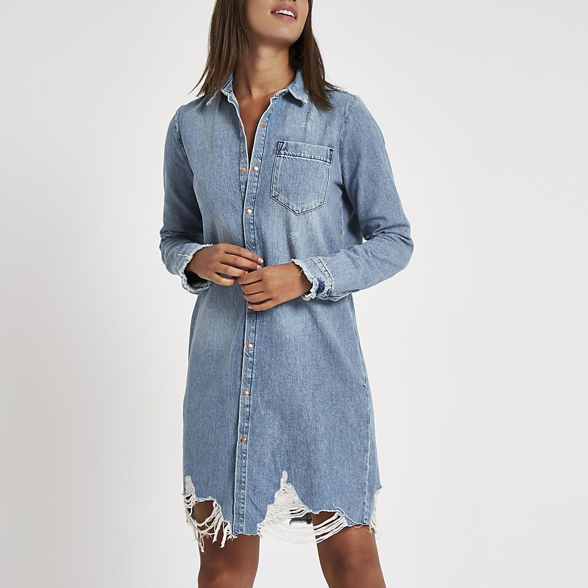 6d61b56f90 Blue ripped denim shirt dress - Shirt Dresses - Dresses - women