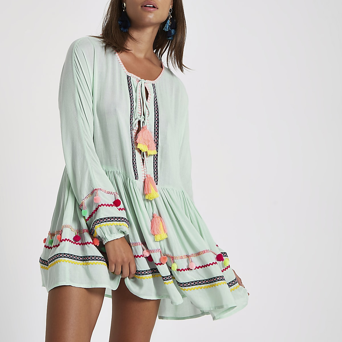 626bcd5200 Green pom pom oversized beach cover up - Kaftans & Beach Cover-Ups -  Swimwear & Beachwear - women