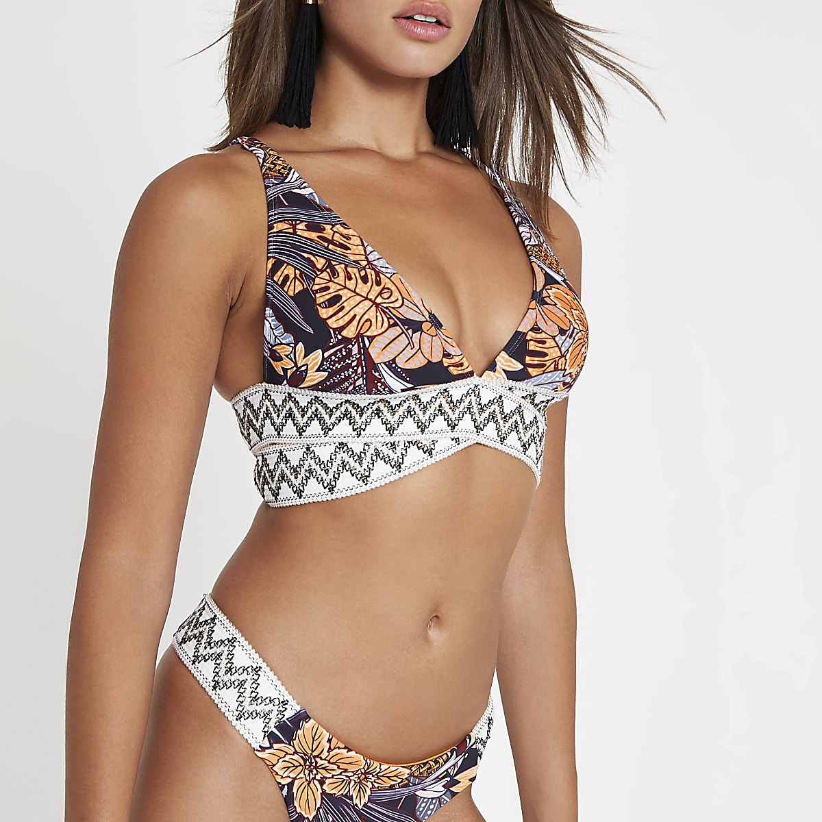 Navy tribal print elastic triangle bikini top