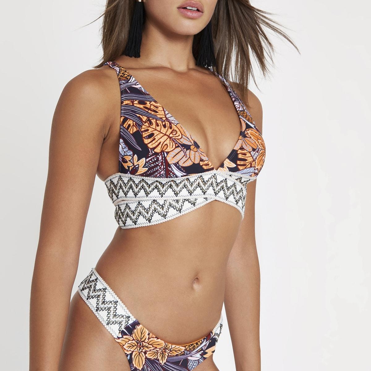 Navy tribal print elastic triangle bikini top