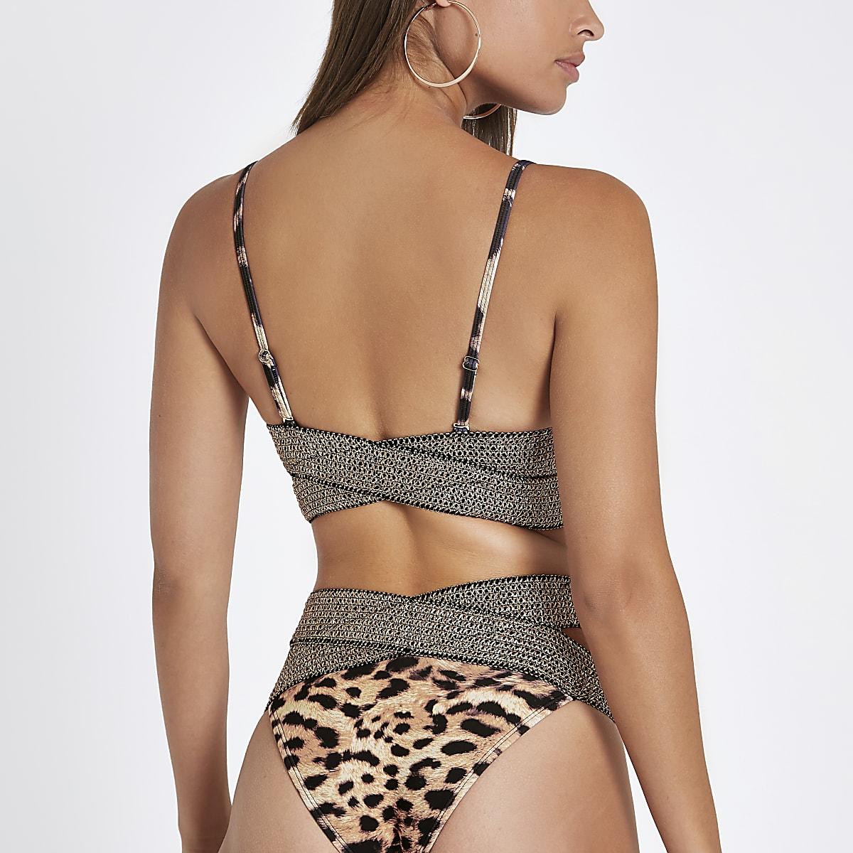 424cf7cfaa76e Brown leopard elastic triangle bikini top - Bikini Tops - Bikinis ...