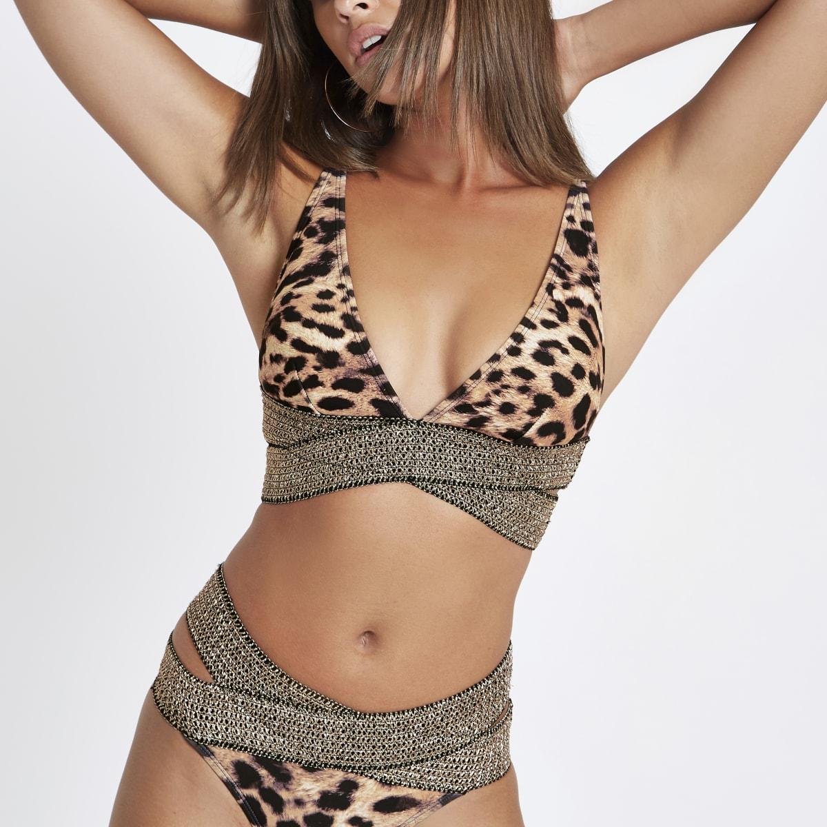 Brown leopard elastic triangle bikini top