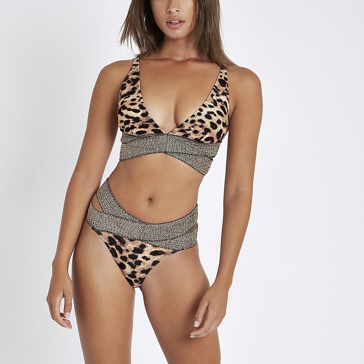 Brown leopard print high leg bikini bottoms