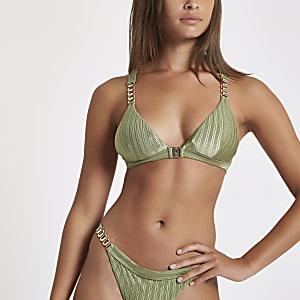 Khaki chain trim triangle bikini top