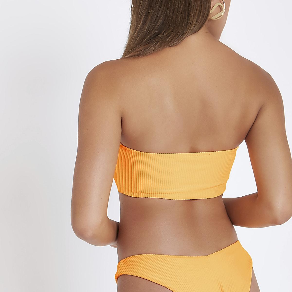 877f6ccf3e Orange ribbed bandeau bikini top - Bikini Tops - Bikinis - Swimwear ...