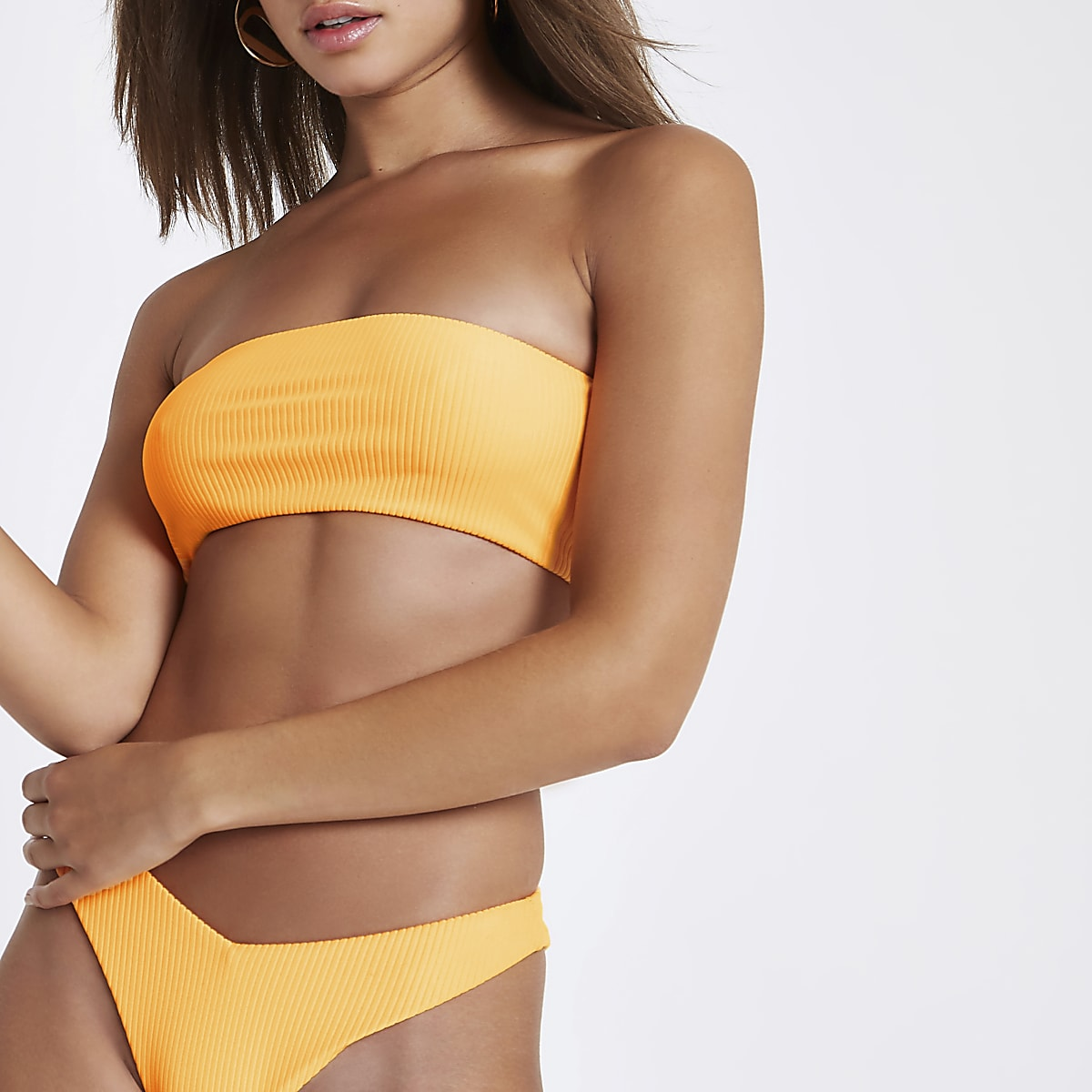 Orange ribbed bandeau bikini top