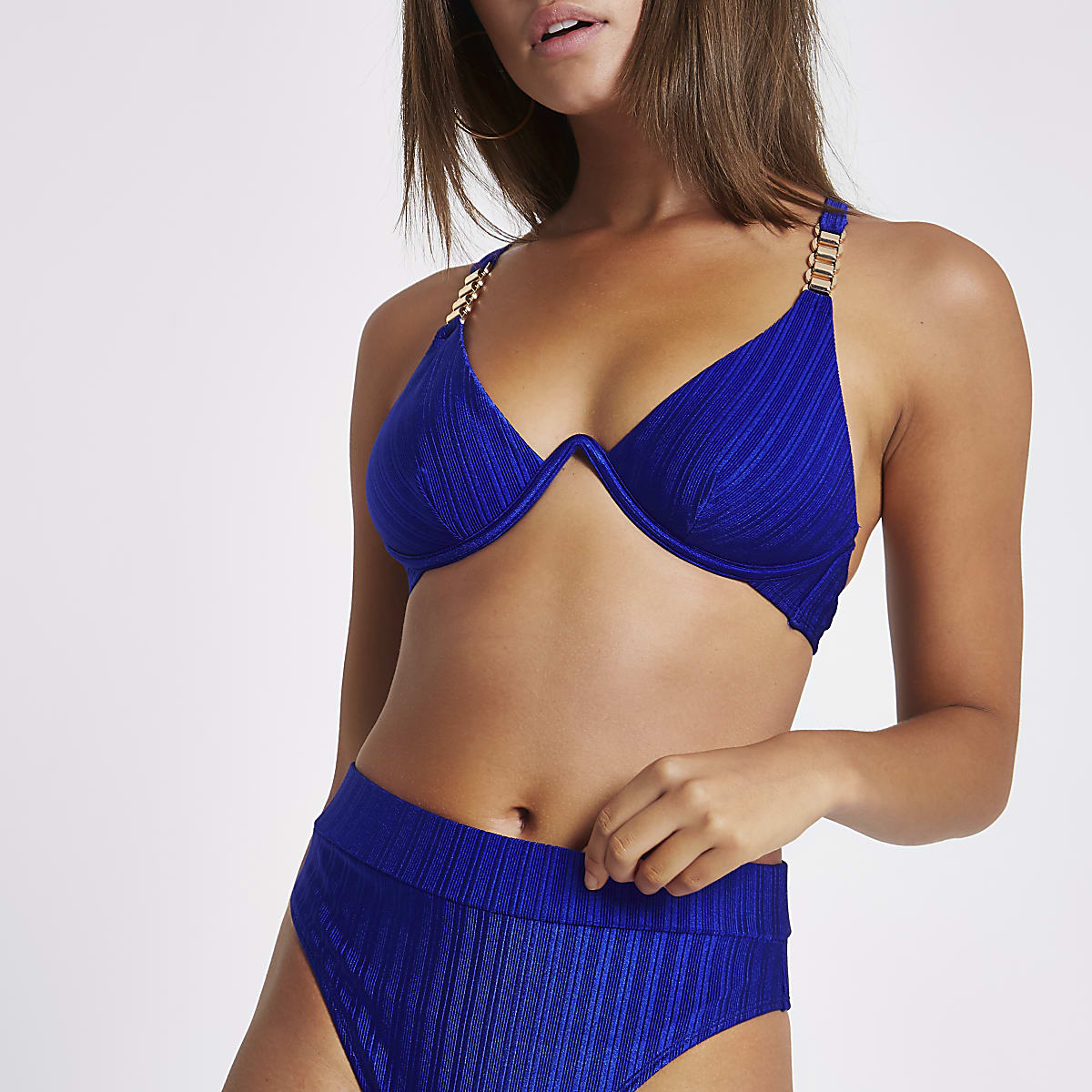 Blue chain trim underwired bikini top