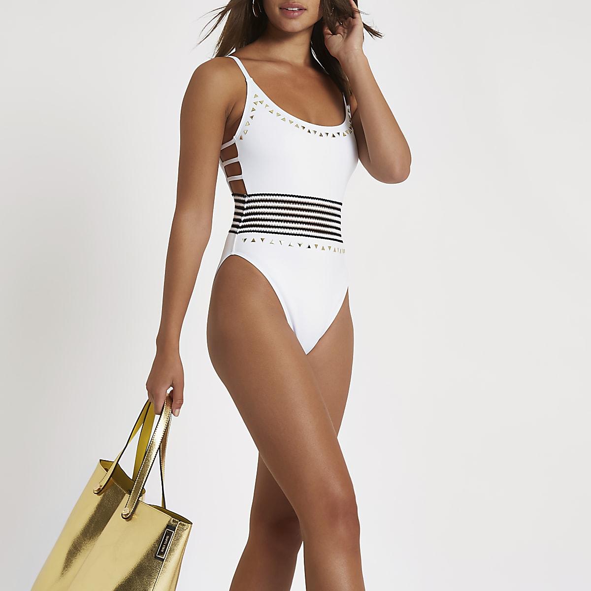 White elastic stripe high leg swimsuit