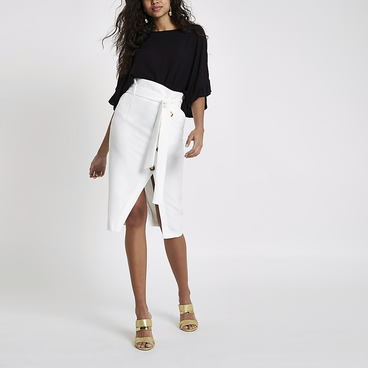928b2bc8e2 White paperbag button front pencil skirt - Midi Skirts - Skirts - women