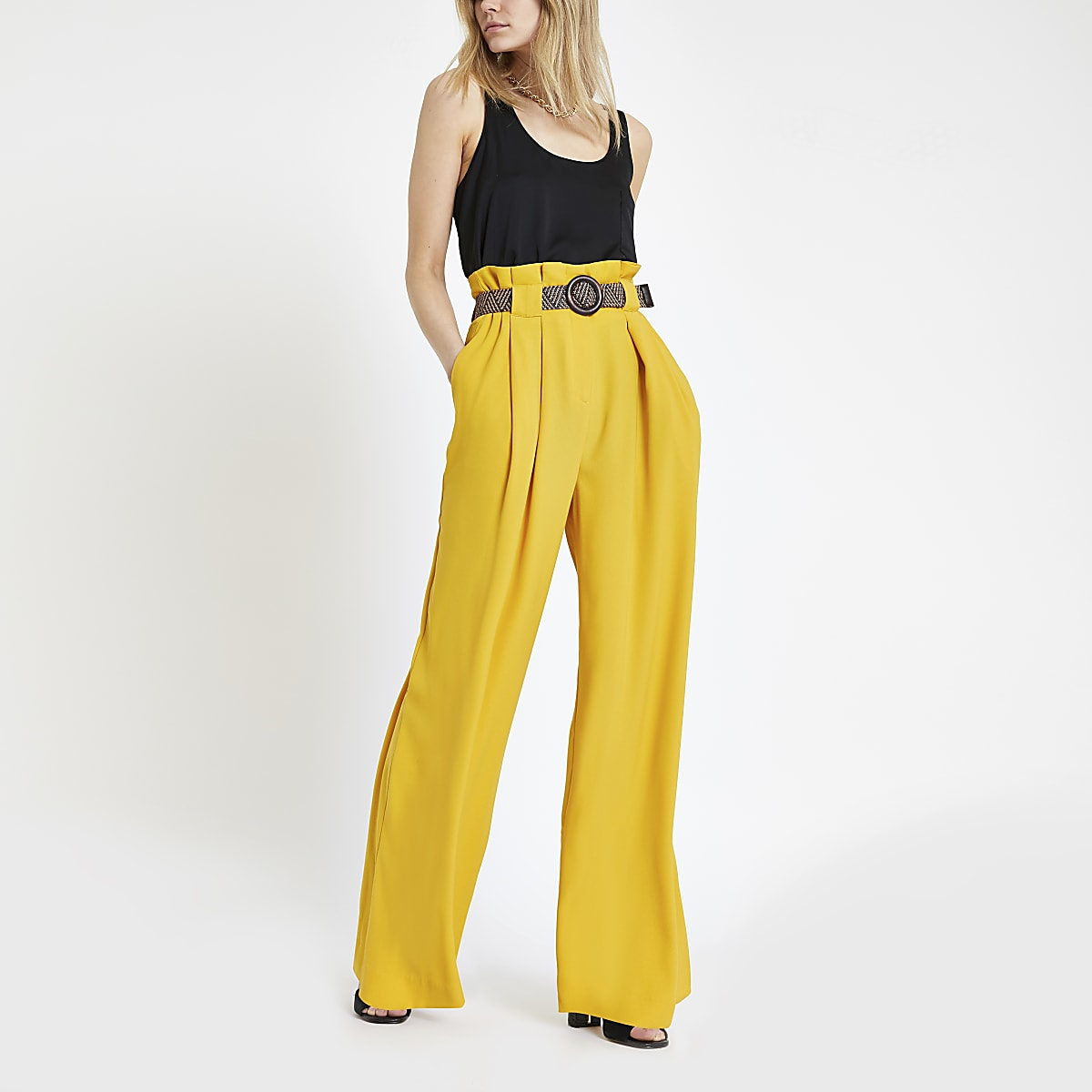 Dark yellow paperbag waist wide leg trousers