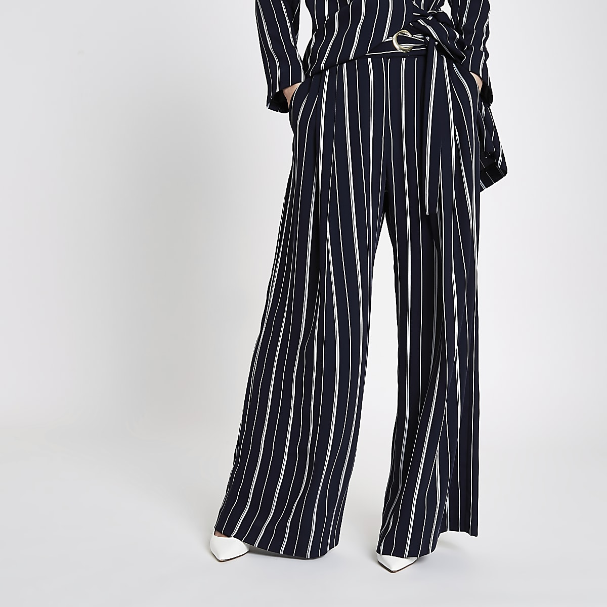 Navy stripe eyelet tie side wide leg trousers