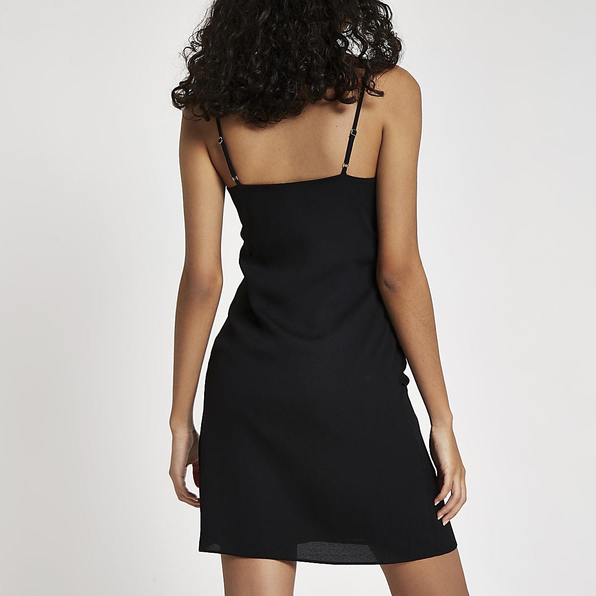 a686c7d6ae Black tie front cami slip dress - Slip   Cami Dresses - Dresses - women